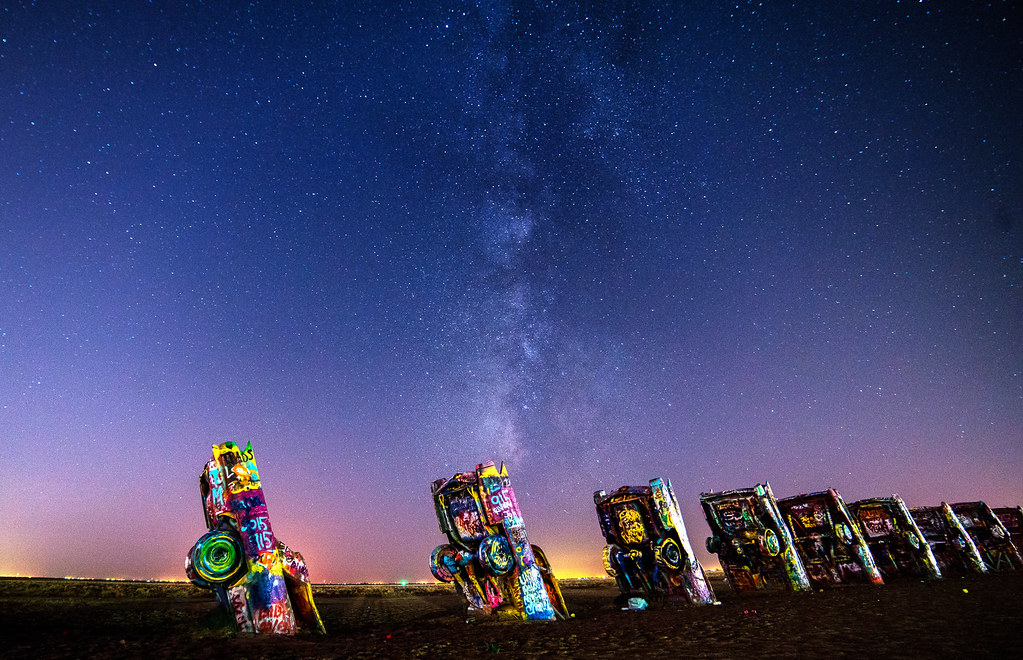 Cadillac Ranch Milky Way Landscape The Milky Way Rises