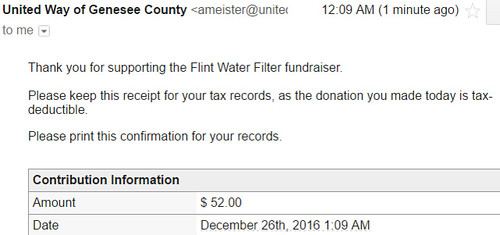 Flint water fund receipt