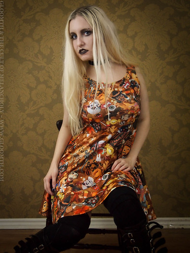 halloween collage print goth dress gloomth