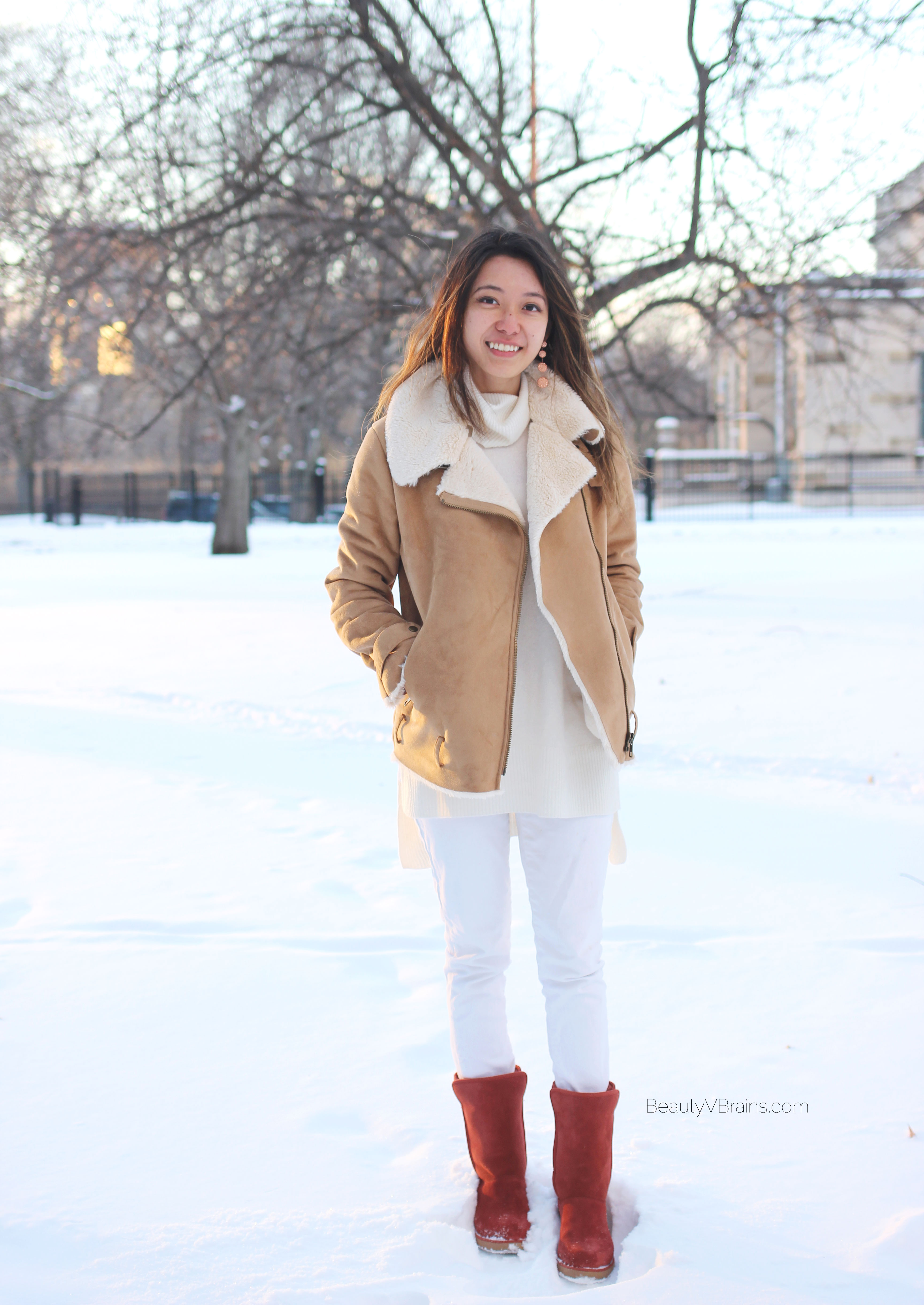 Red suede uggs and winter white outfit