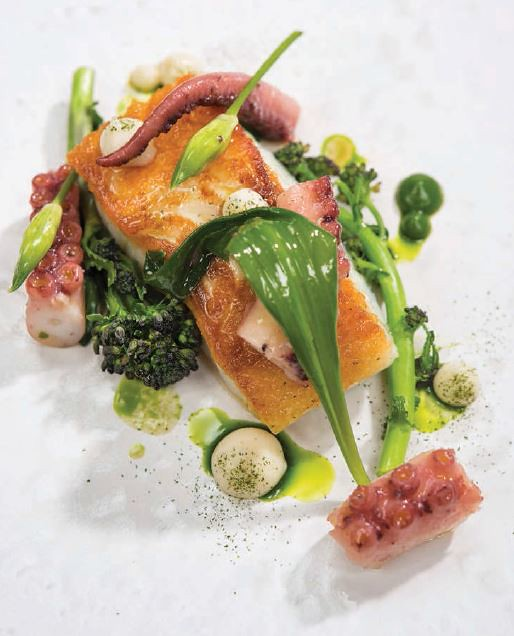 Cod, Octopus, Purple Broccoli, Broccoli Puree, and Horseradish Mayonnaise. Recipe by Chef Derry Clarke of l'Ecrivain, Co. Dublin. From The New Irish Table: Recipes from Ireland's Top Chefs