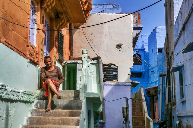Colorful houses in old city, Jodhpur, India ジョードプル カラフルな家々