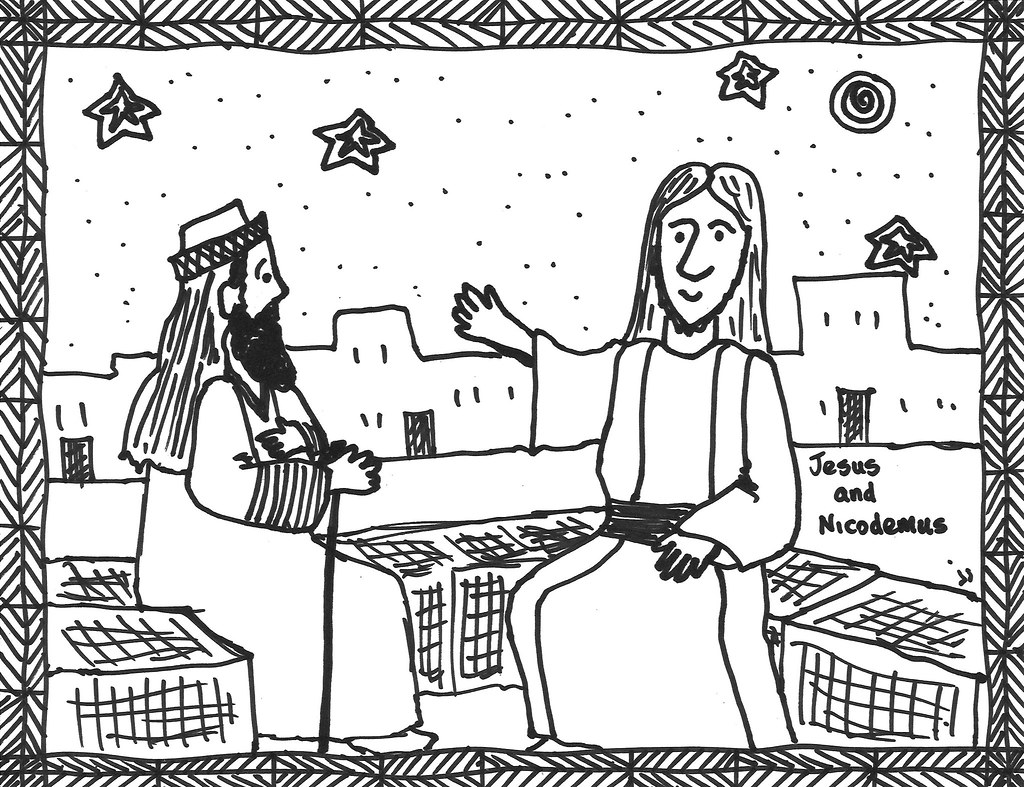 Lent2col | Jesus and Nicodemus coloring page | John | Flickr