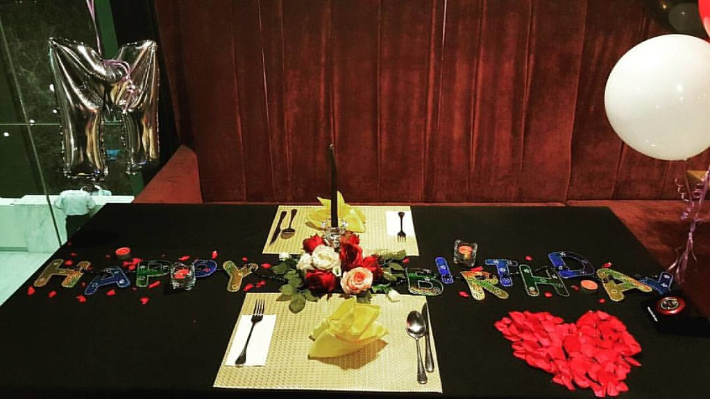 Table Setting Yg A Bit Simple But Sweetness Level 9999 For Birthday Couple Celebration