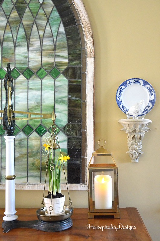 Foyer-Brass Lantern-Antique Scale-Antique Stained Glass-Housepitality Designs