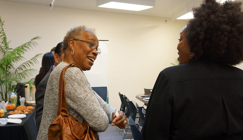 Administrator Rowe speaking with an attendee at the Jobs NOW! event in San Francisco