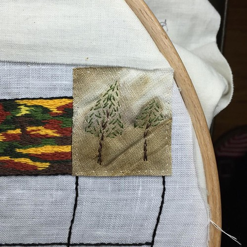Nov 7/15 #embroidery #embroideryart #broderie #ecoprint #autumn #wind #evergreen #greatlakes #ontario | by obliquepoet