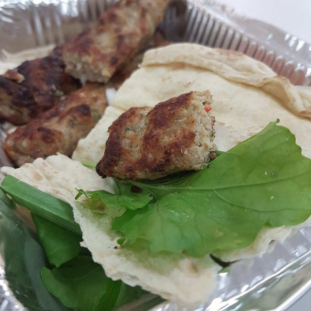 Chicken Kebab w/Arab Bread and Hummus @ Al Dur Power Plant, Bahrain