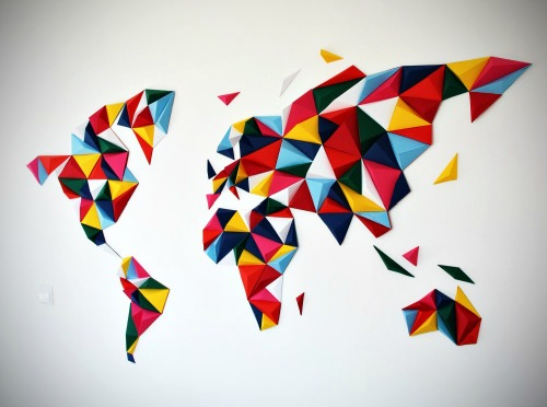 Low Poly World Wall Map