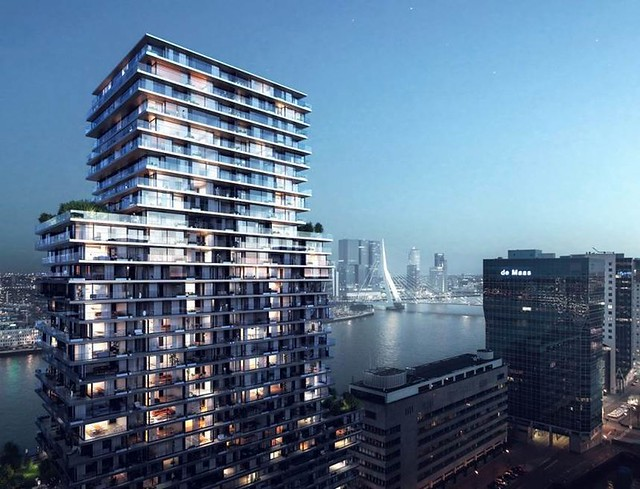 Terraced Tower Rotterdam skyline