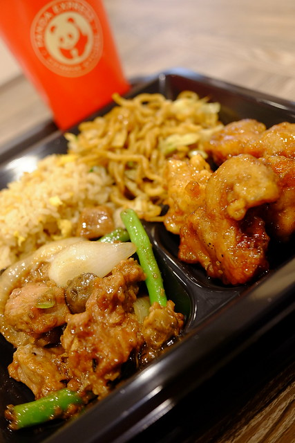 Plate meal orange chicken, shanghai angus steak, fried rice, chow mein, stir-fried noodle