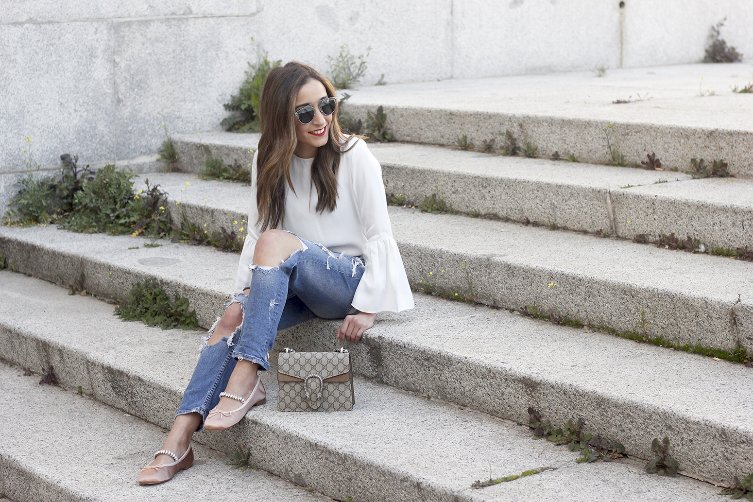 ripped keans gucci bag Jewel ballerinas uterqüe white blouse outfit style fashion13