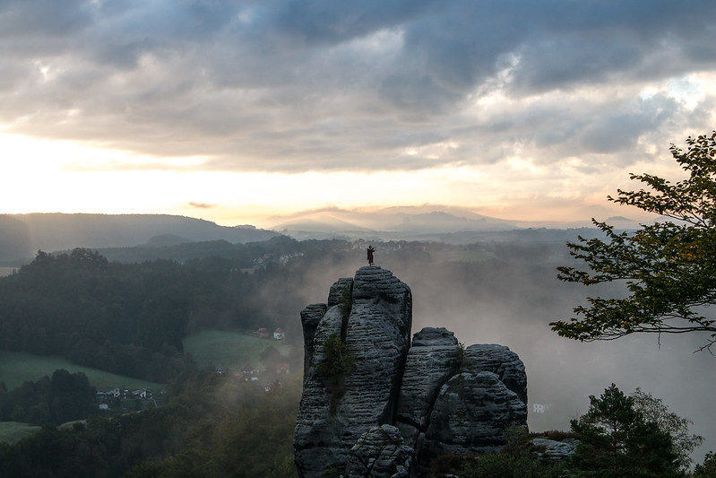 sunrise at bastei rock
