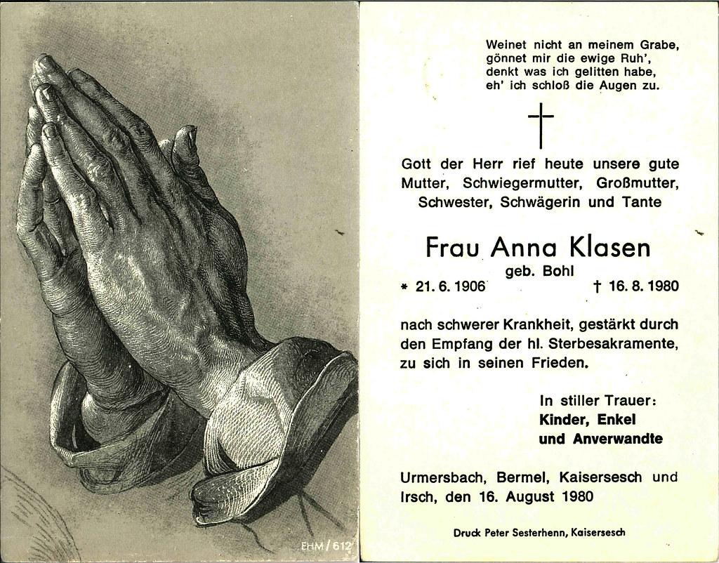 Totenzettel Klasen, Anna geb. Bohl † 16.08.1980