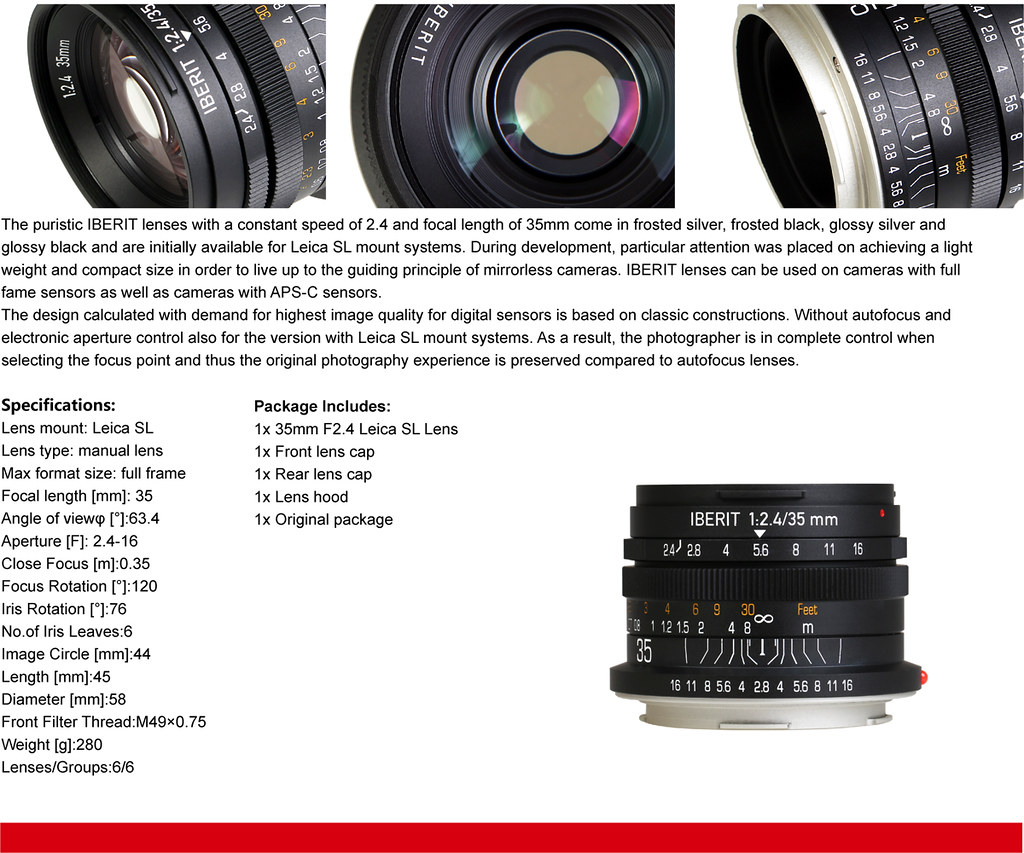 IBERIT 35mm F2.4 Full Frame Camera lenses for Leica SL Mou… | Flickr
