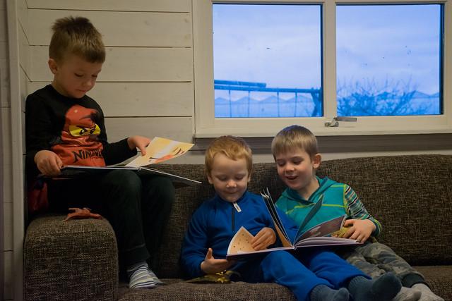 Frå venstre sit femåringane Lukas, Karl Håkon og Andreas, oppslukte i nynorskbøker.