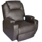 HomCom Deluxe Heated Vibrating PU Leather Massage Recliner Chair – Brown