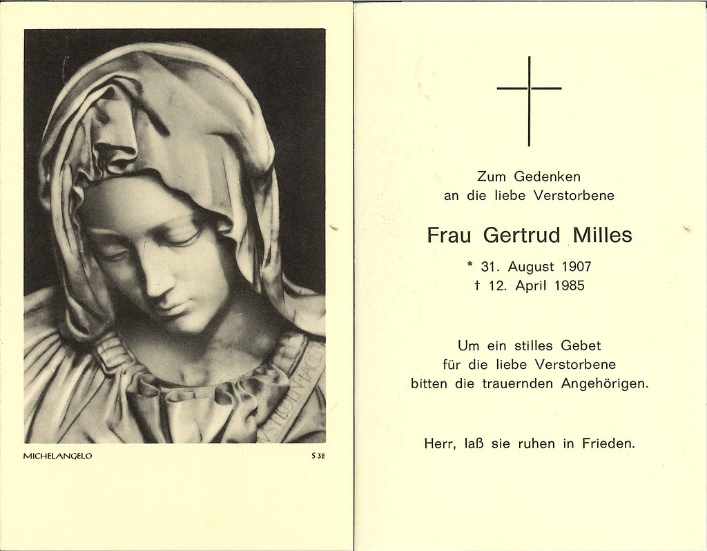 Totenzettel Milles, Gertrud † 12.04.1985