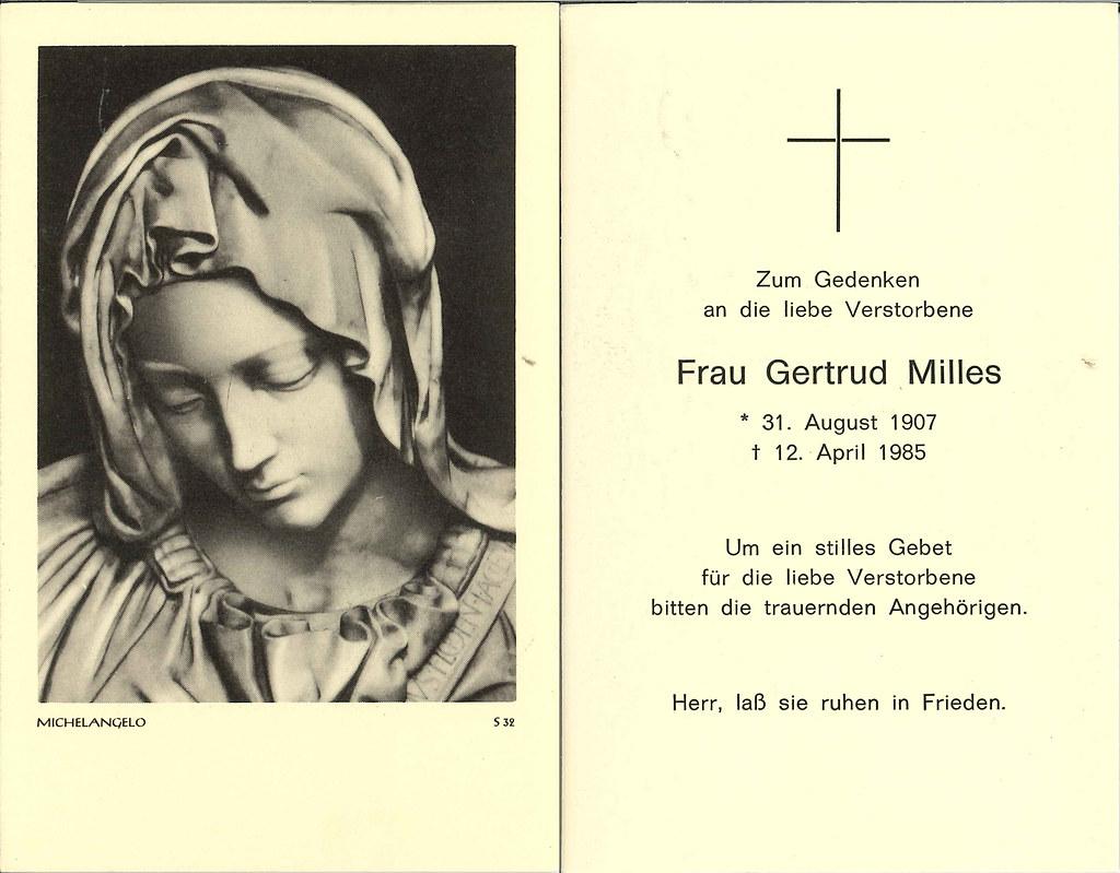 Totenzettel Milles, Gertrud † 12.04.1985