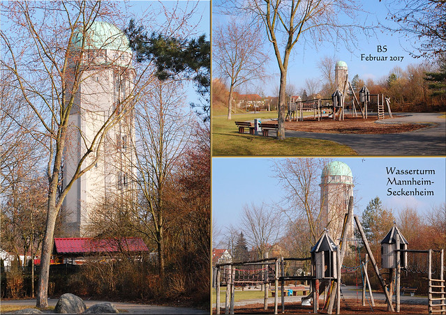 """Der Wasserturm in Mannheim-Seckenheim in der Kloppenheimer Straße wird umgangssprachlich """"Glatzkopp"""" genannt. Er ist der jüngste der heute noch vorhandenen 20 Mannheimer Wassertürme und stammt aus dem Jahr 1911. Heute befindet sich darin ein Aufzugsmuseum der Firma Lochbühler. Nachfolgend Fotos vom 13. Februar 2017 ... Foto: Brigitte Stolle, Mannheim"""