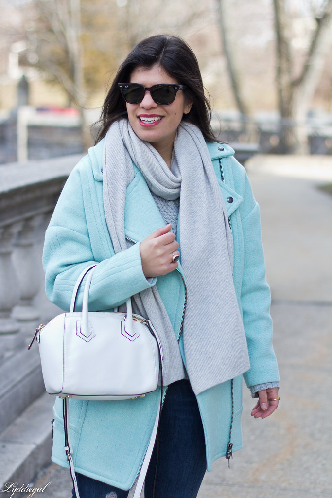mint green cocoon coat, grey sweater, scarf, white bag-5.jpg
