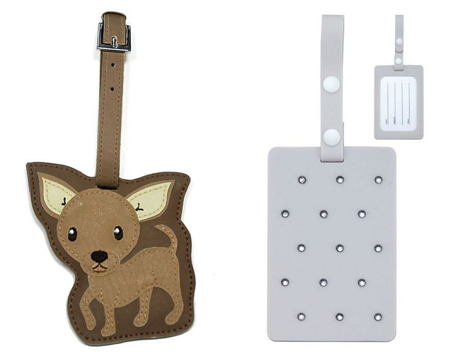 chihuahua brown leather luggage tag pale grey swarovski crystals rhinestones embellished cute adorable pet puppy dog travel suitcase