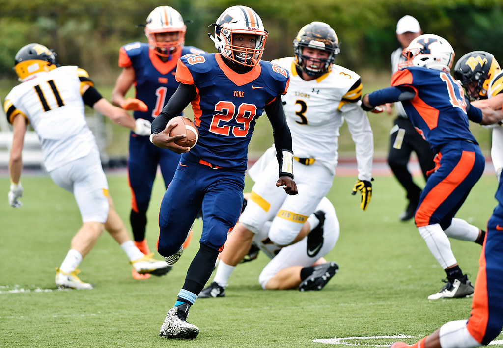 © 2016 by The York Daily Record/Sunday News. William Penn's Nigel Williams carries the ball in the first half of a YAIAA football game Saturday, Sept. 24, 2016, at Small Field in York.
