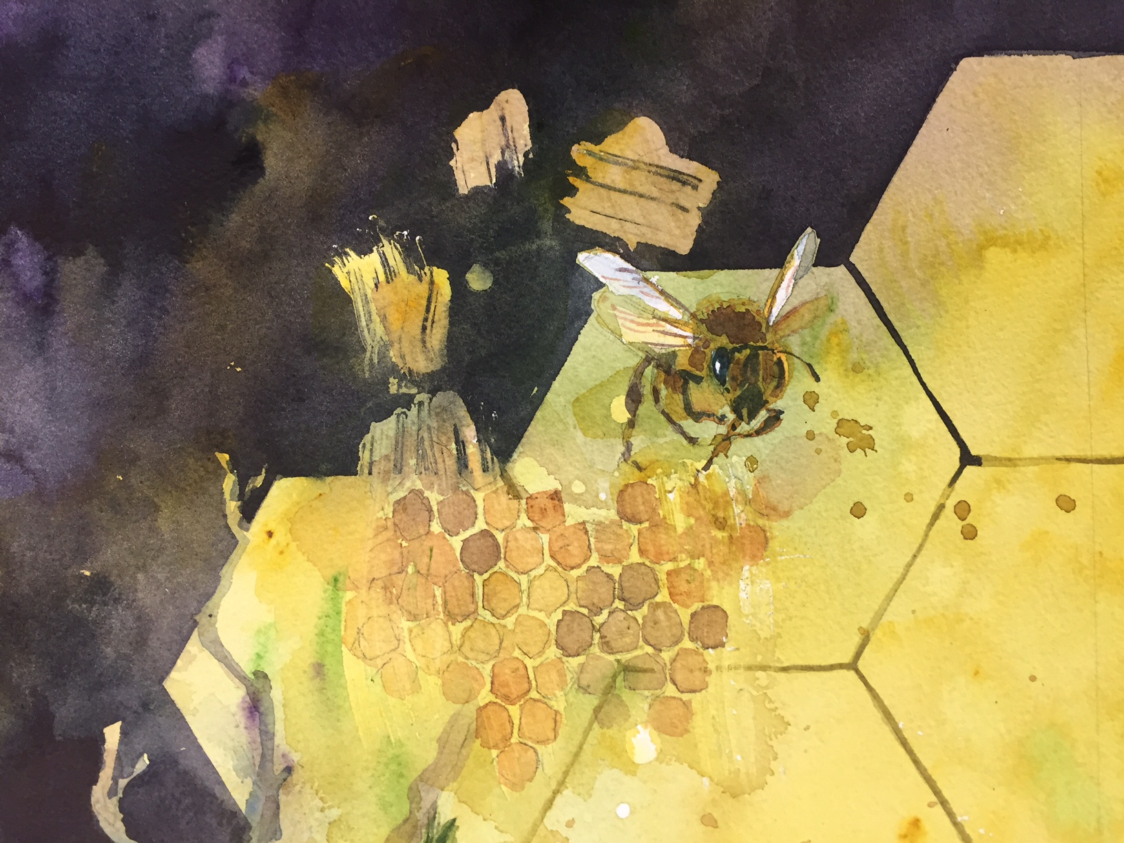 Watercolor artist magazine review - Detail Of The Work In Progress