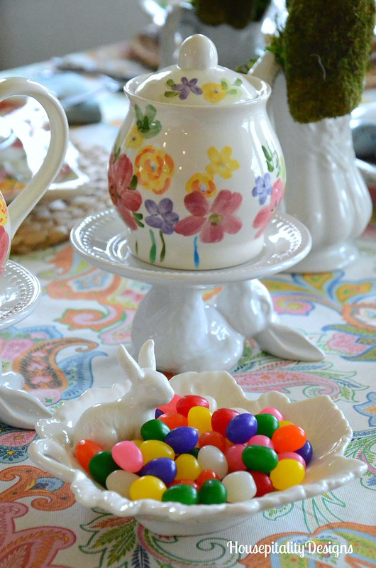 Easter Bunny Parade Tablescape-Pottery Barn Bunny Dessert Plates-Jelly Beans-Housepitality Designs