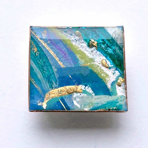 Modern Art Paper and Resin Brooch by Hilary Bravo