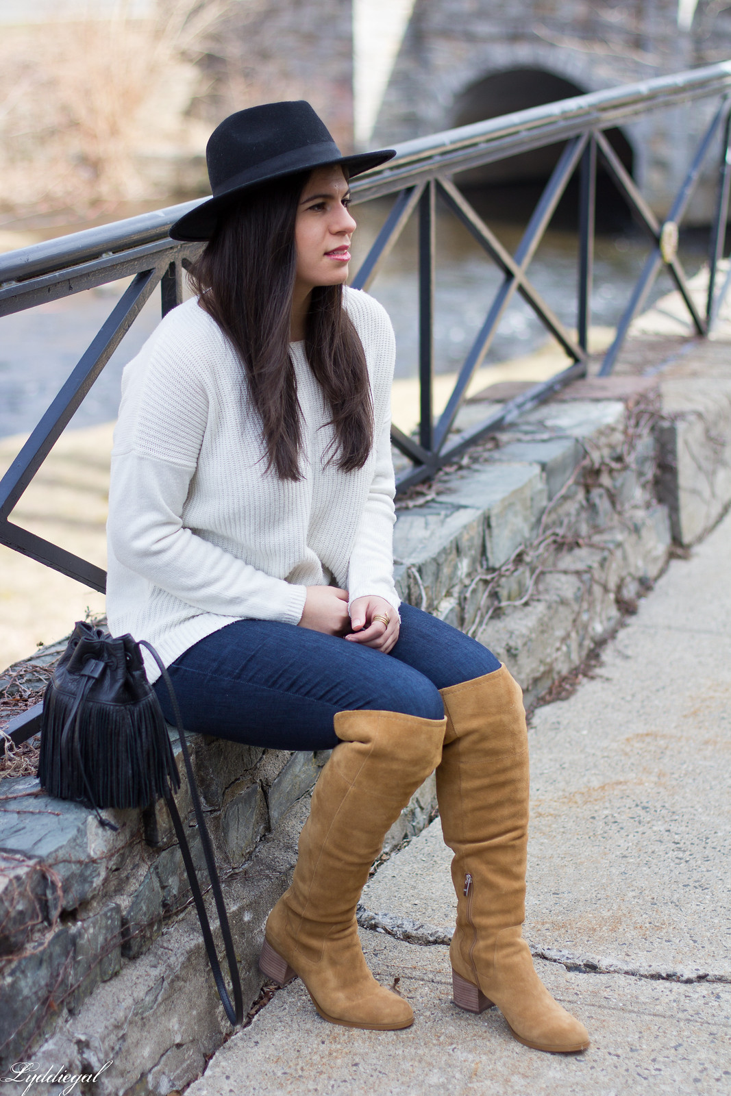 white sweater, tan over the knee boots, black wool hat-19.jpg