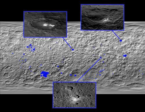 VCSE - Mai kép - Az (1) Ceres felszínén található fényes területek (kék színnel jelölve)