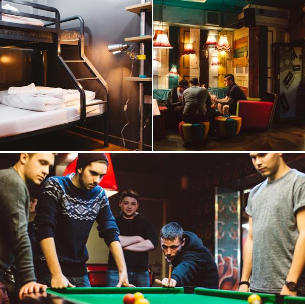 Clink 78, ambiente típico de hostel inglés de buen rollo, billares, literas, etc...