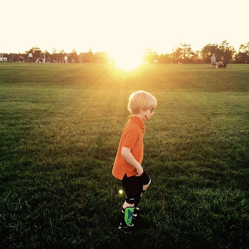Playing soccer on a warm fall evening. | by Bethany L King