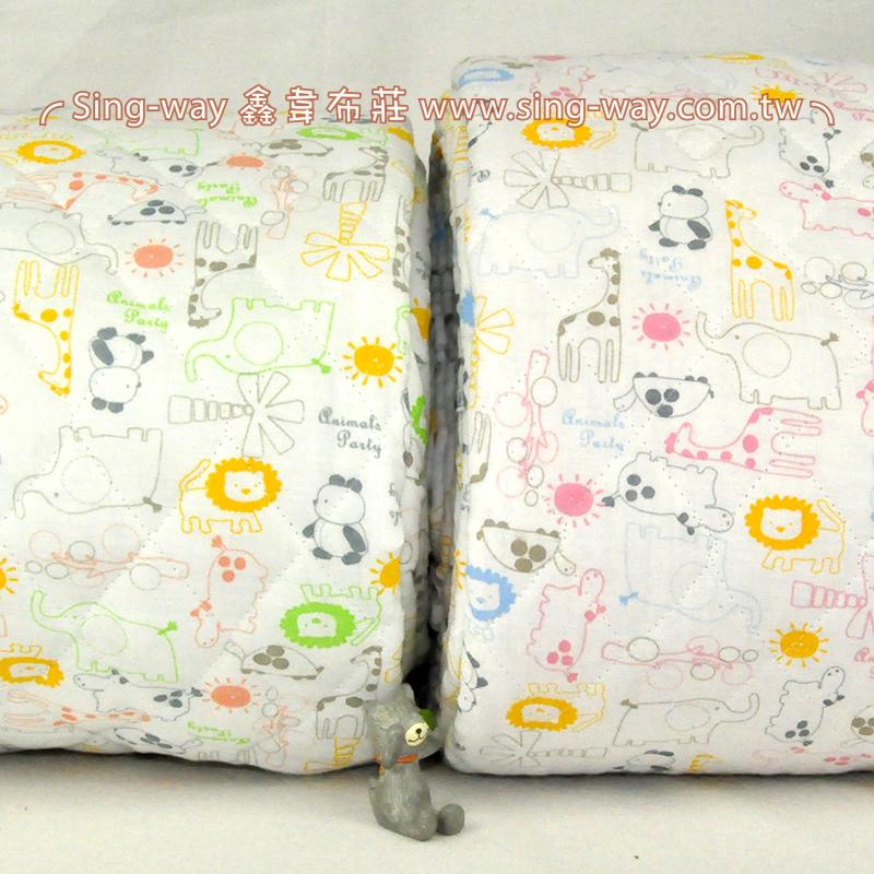 【限宅配】動物郊遊  二重紗+毛巾布 雙層紗鋪棉布 嬰兒冬季床品布料 雙重紗 二重紗 B1600001