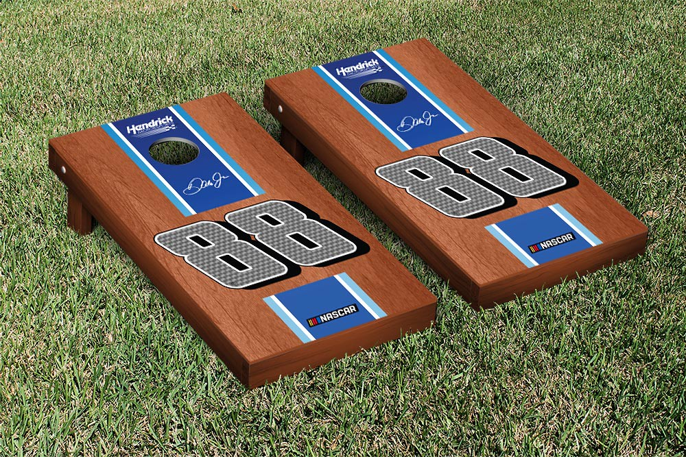 DALE EARNHARDT JR #78 CORNHOLE GAME SET ROSEWOOD STAINED STRIPE VERSION (1)