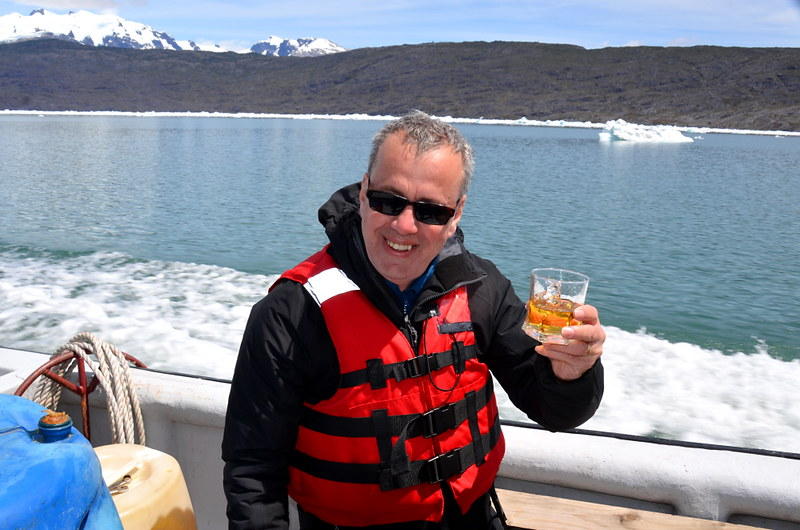 Raising a glass to Jorge Montt with ice from the glacier