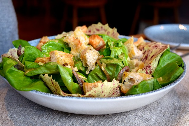 Butter Lettuce, Ortiz Anchovy, Garlic Croutons at The Wife of Bath, Wye | www.rachelphipps.com @rachelphipps