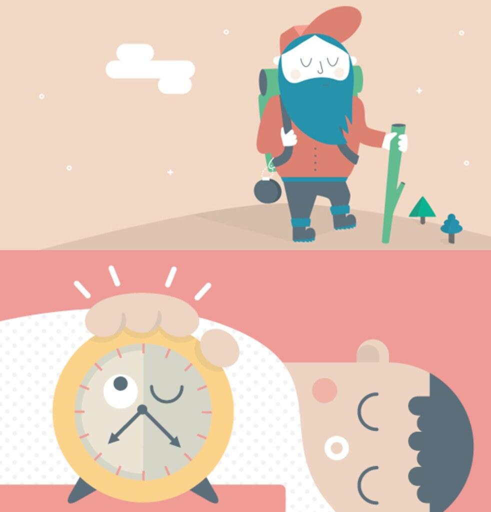 Headspace cartoons of man hiking and boy sleeping