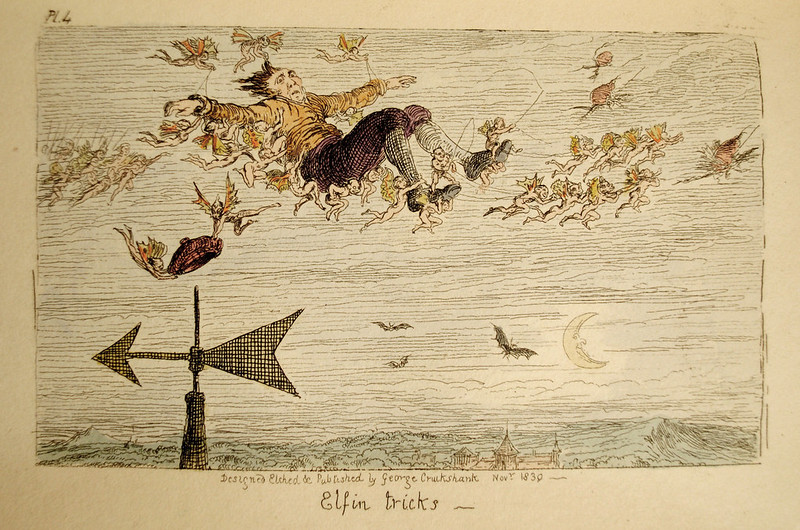 "George Cruikshank - ""Elfin Tricks""  colored Illustration from ""Letters On Demonology And Witchcraft"" by Walter Scott, 1830 ("