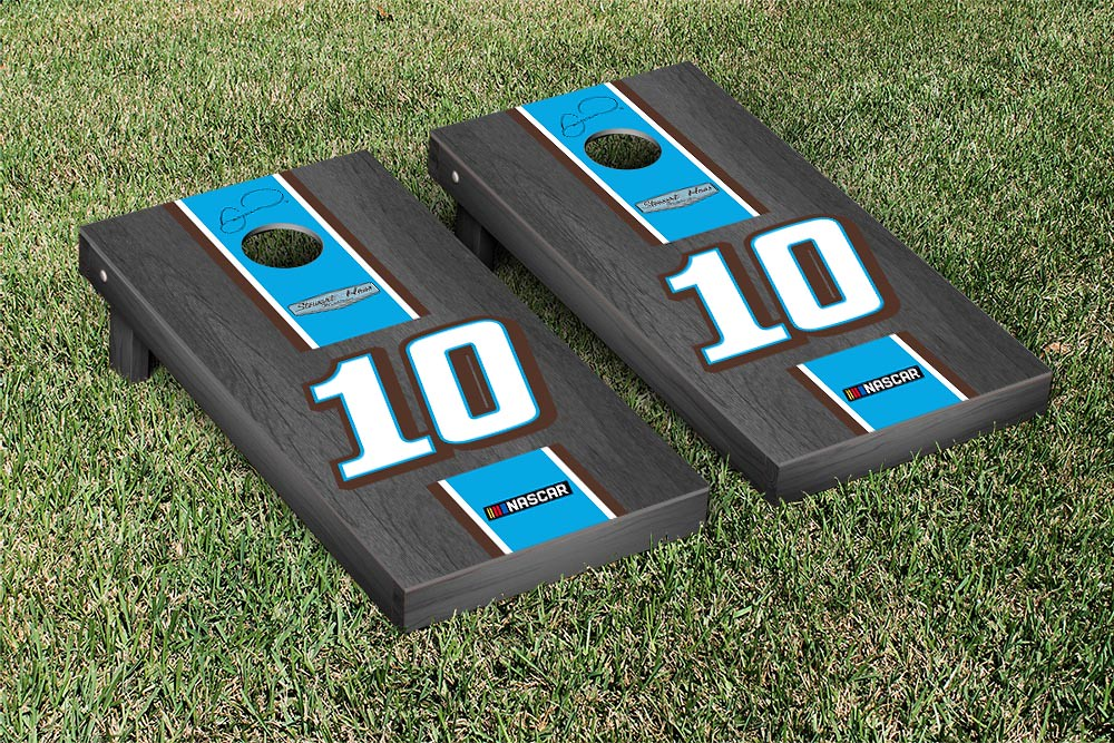 DANICA PATRICK #10 CORNHOLE GAME SET ONYX STAINED BLUE STRIPE VERSION