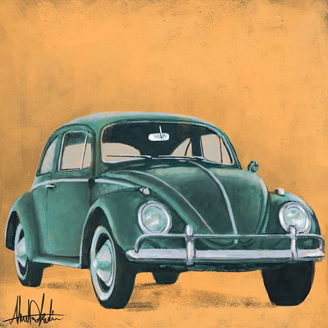classic vintage old vw wolkswagen beetle painting flickr. Black Bedroom Furniture Sets. Home Design Ideas