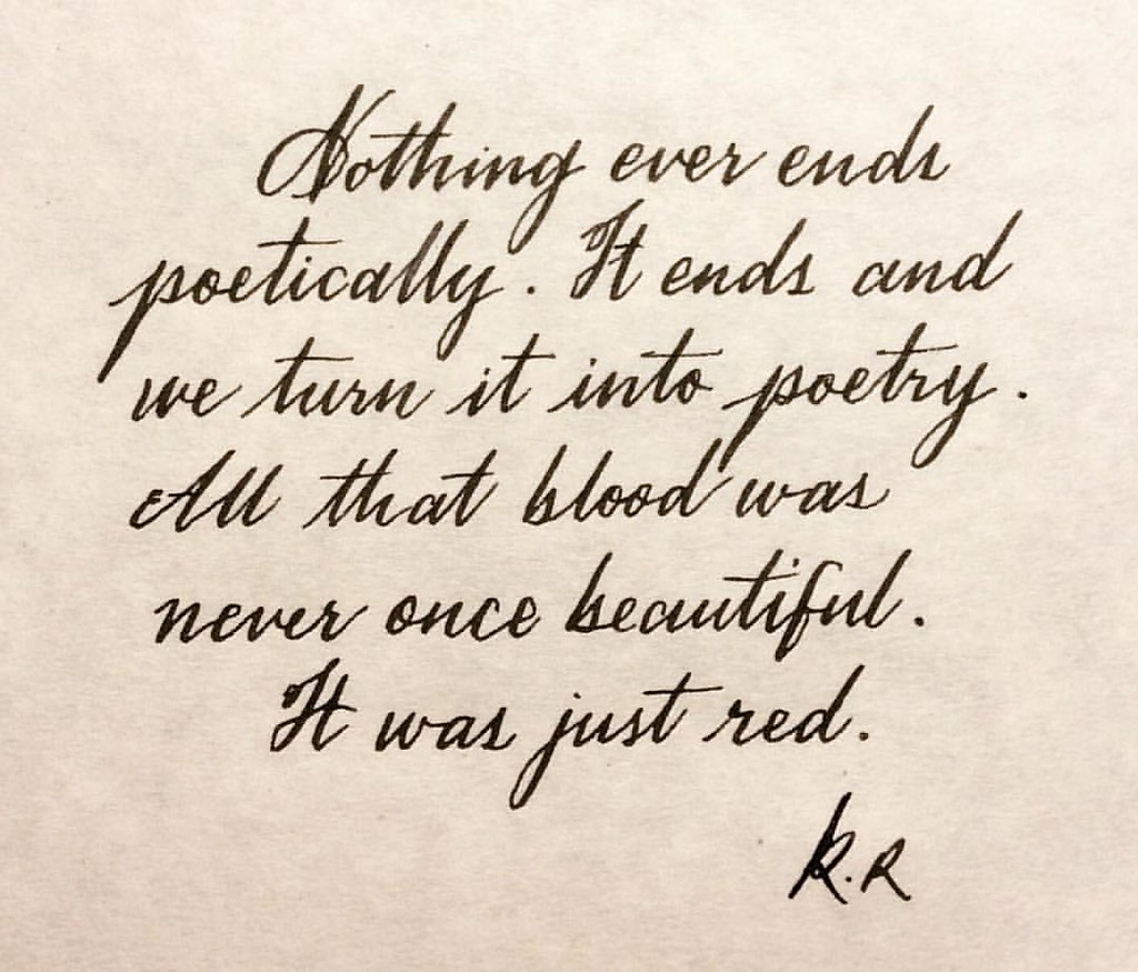 Words for endings quote by kaltrokowski calligraphy vi