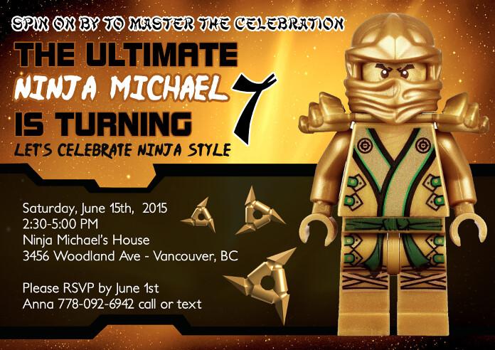 Gold lego ninjago custom birthday invitation artfire flickr gold lego ninjago custom birthday invitation by designdreametsy stopboris Images