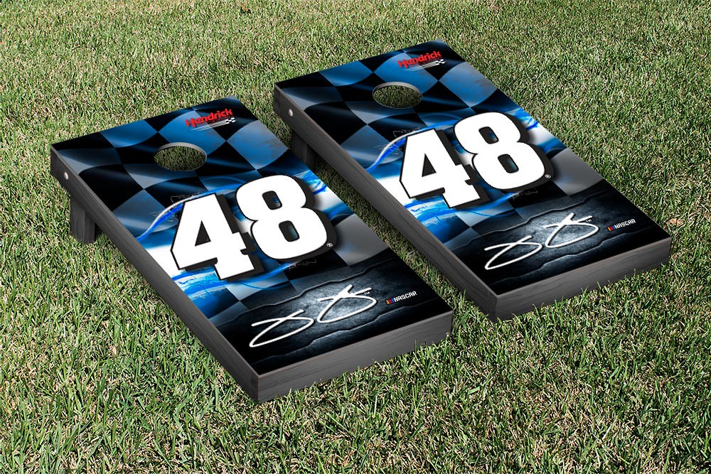 JIMMIE JOHNSON #48 CORNHOLE GAME SET NIGHT LIGHTS VERSION (1)