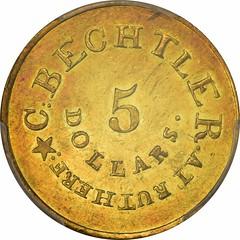 C. Bechtler $5 Gold obverse