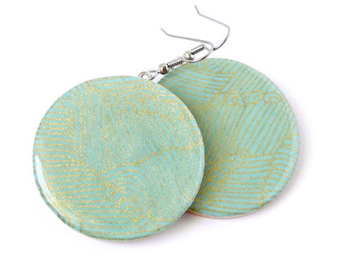 Chiyogami Yuzen Dangle Earrings by Pretty Kiku