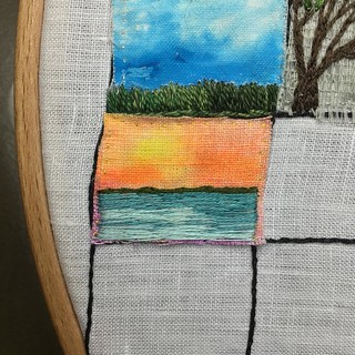 Aug 16/15 #embroidery #embroideryart #broderie #watercolor #sunset #georgianbay #greycounty #southwesternontario | by obliquepoet