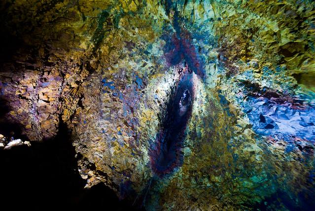 Cono del volcán Thrihnukagigur desde el interior de la bóveda del volcán