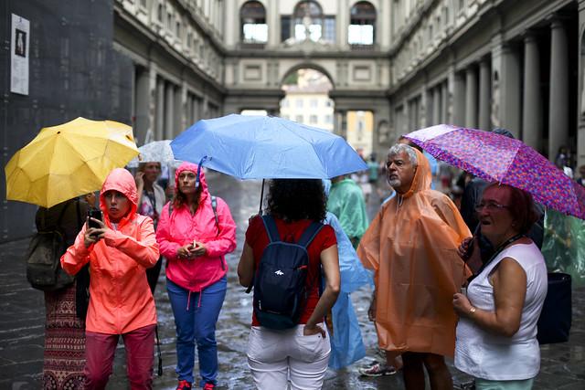 Rainbow of tourists ponchos - Firenze
